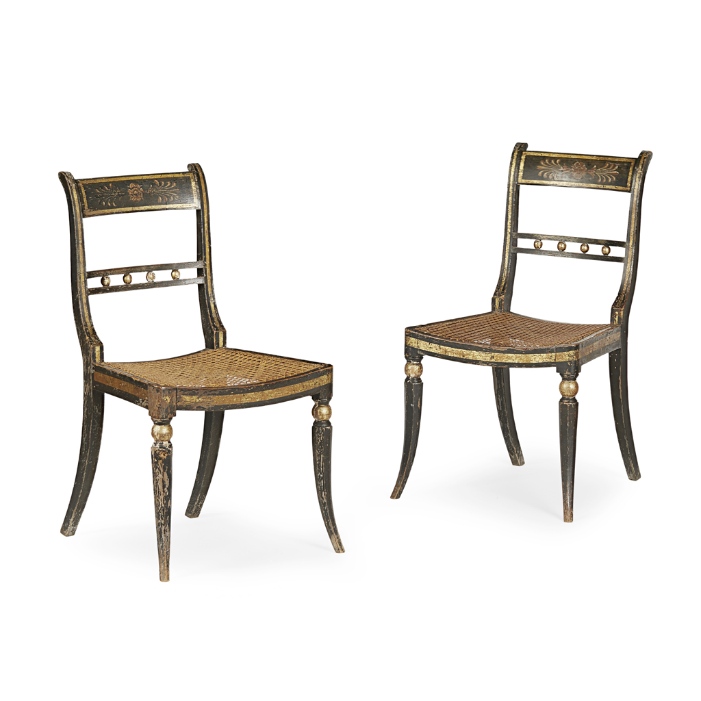 Lot 1-PAIR OF REGENCY EBONISED, PAINTED AND GILT SIDE CHAIRS