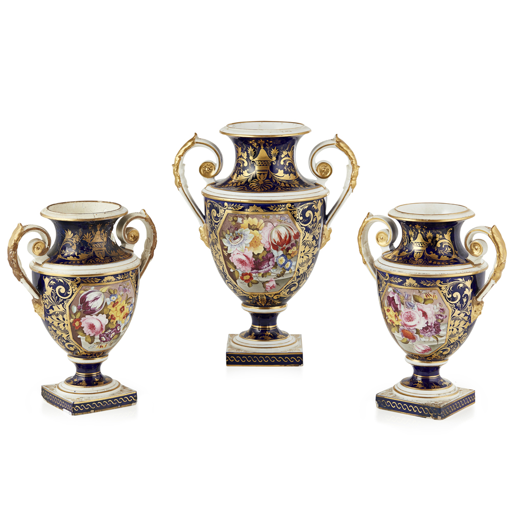 Lot 20-DERBY PORCELAIN THREE-PIECE GARNITURE