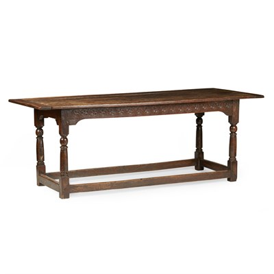 Lot 103 - GEORGIAN OAK REFECTORY TABLE
