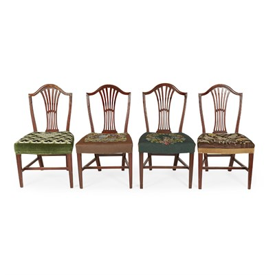 Lot 44 - SET OF FOUR GEORGE III MAHOGANY SIDE CHAIRS