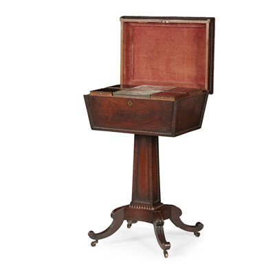 Lot 24-REGENCY MAHOGANY TEA POY