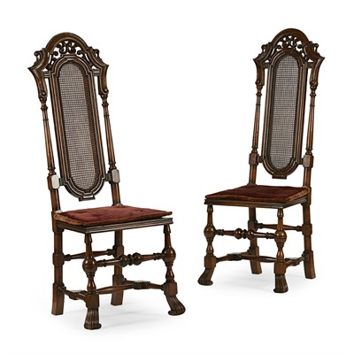 Lot 68 - PAIR OF WILLIAM AND MARY STYLE WALNUT HALL CHAIRS