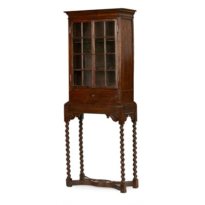 Lot 72 - WILLIAM AND MARY MULBERRY CABINET ON STAND