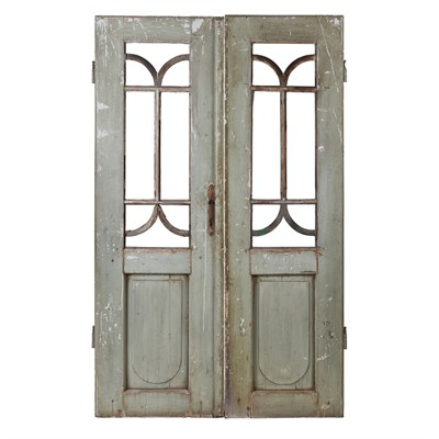 Lot 6-A PAIR OF OVERPAINTED WOODEN DOORS