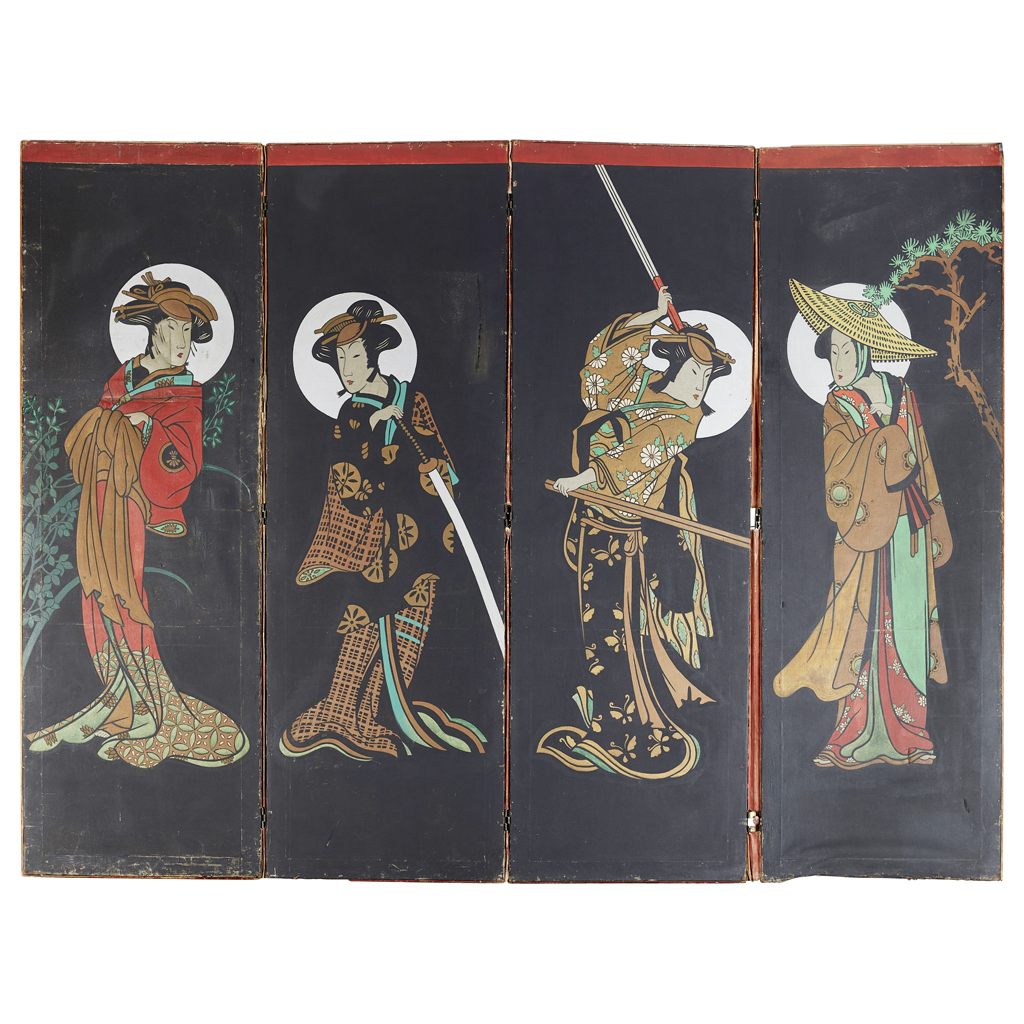 Lot 28-AN ANGLO-JAPANESE DRAUGHT SCREEN