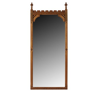 Lot 13-AN INLAID OAK WALL MIRROR ATTRIBUTED TO CHARLES BEVAN