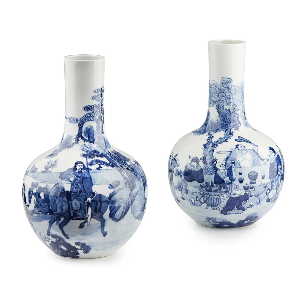 Lot 31-PAIR OF CHINESE BLUE AND WHITE BOTTLE VASES