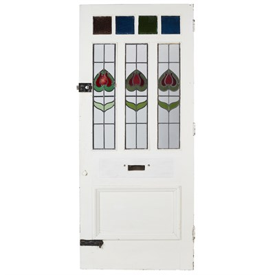 Lot 5-PAINTED HARDWOOD AND STAINED GLASS FRONT DOOR