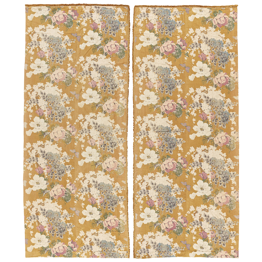 Lot 25-A PAIR OF CHINTZ CURTAINS