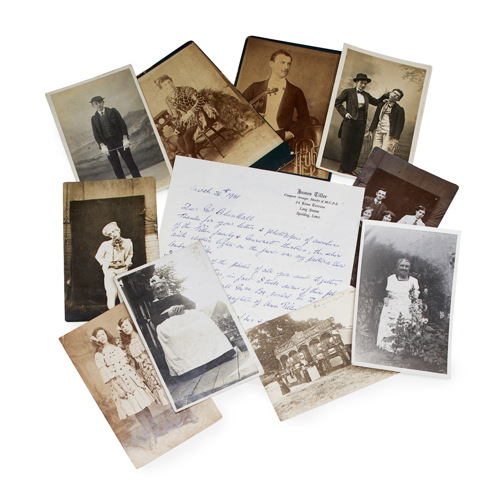 Lot 131-A RARE COLLECTION OF PHOTOGRAPHS AND POSTCARD STYLE PHOTOGRAPHS OF THE TILLER-CLOWES FAMILY TROUPE