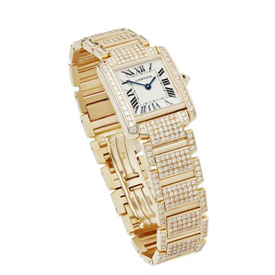 Lot 94 - A diamond set lady's18ct gold wrist watch, Cartier