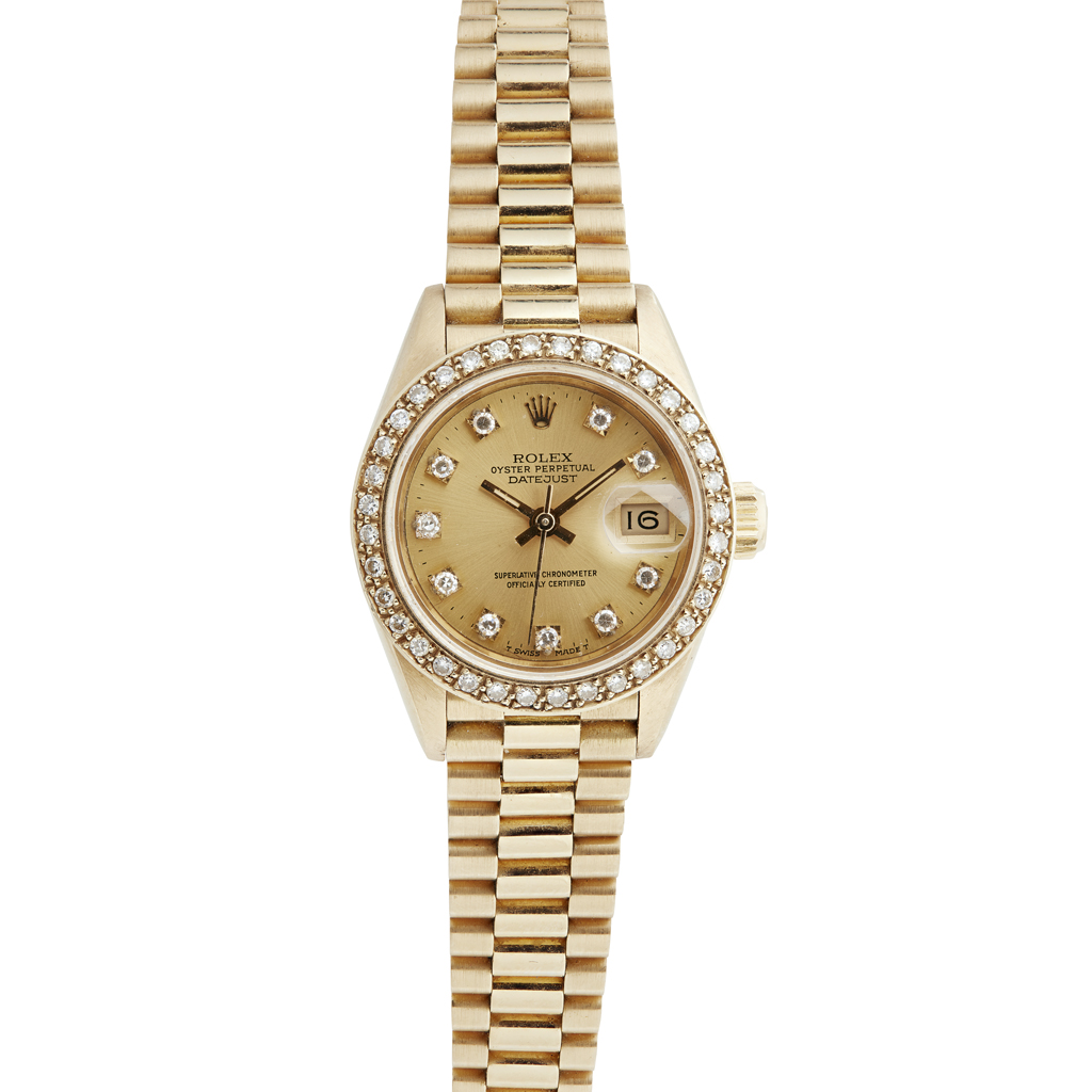 Lot 95 - An 18ct gold and diamond set lady's wrist watch, Rolex