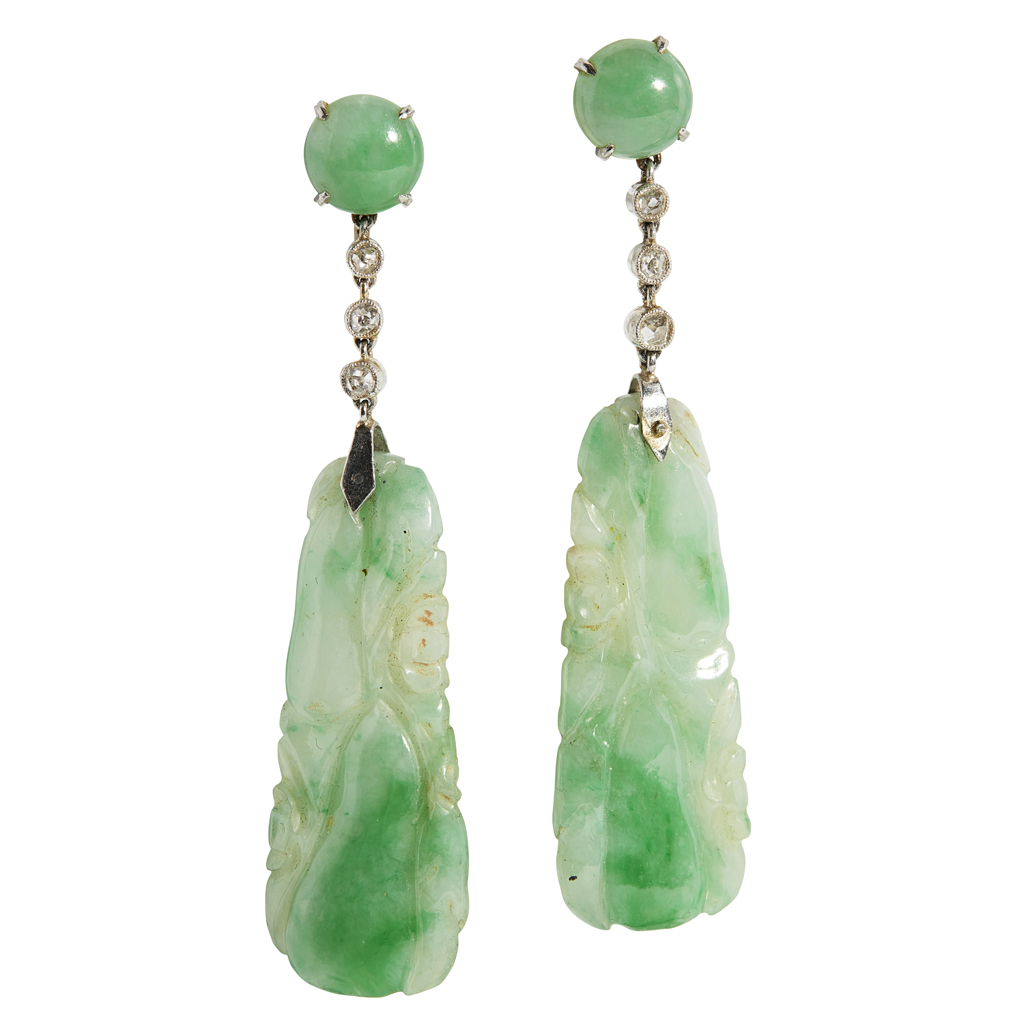 Lot 27-A pair of jade and diamond set pendant earrings
