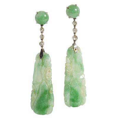 Lot 27 - A pair of jade and diamond set pendant earrings