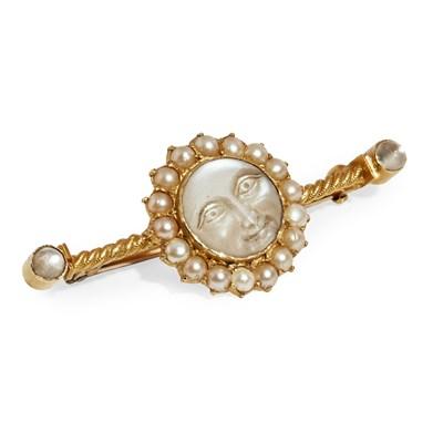 Lot 7 - A moonstone and pearl set bar brooch