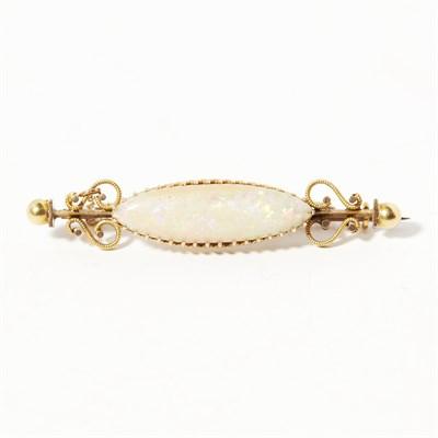 Lot 127 - An opal set bar brooch
