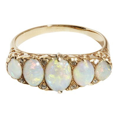 Lot 9 - A Victorian opal and diamond set ring