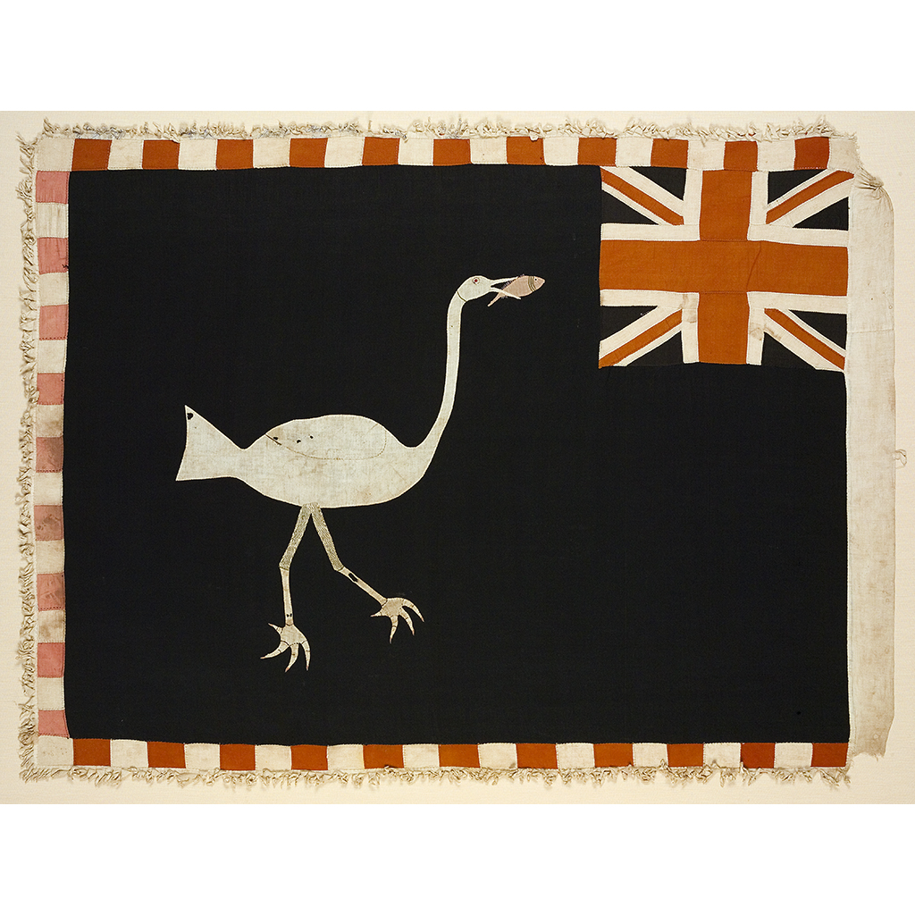 Lot 70-FANTE ASAFO FLAG: THE BIG WATERBIRD SWALLOWS A FISH FROM A DIFFERENT ANGLE