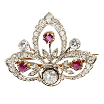Lot 33 - An mid-20th century ruby and diamond set brooch