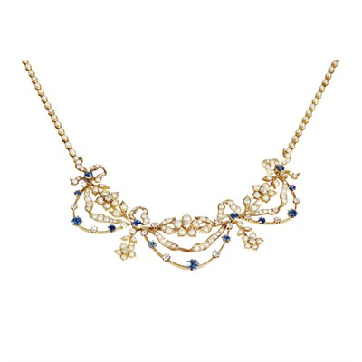 Lot 24-An Edwardian diamond, sapphire and seed pearl set necklace