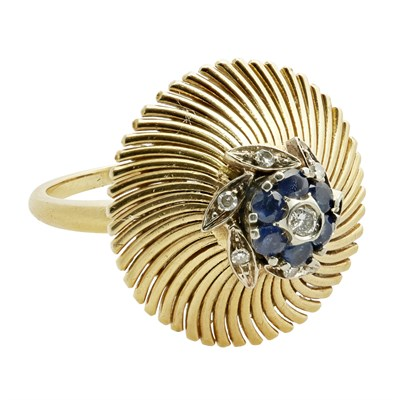 Lot 53 - A mid-20th century sapphire and diamond set cocktail ring