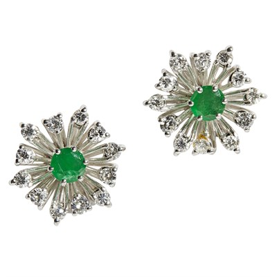 Lot 72 - A pair of emerald and diamond set cluster earrings