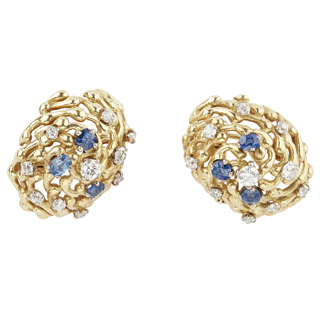 78 - A pair of 1970s 18ct gold sapphire and diamond set earrings, John Donald