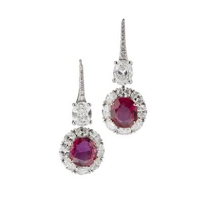 Lot 51 - A pair of Burmese ruby and diamond set pendant earrings
