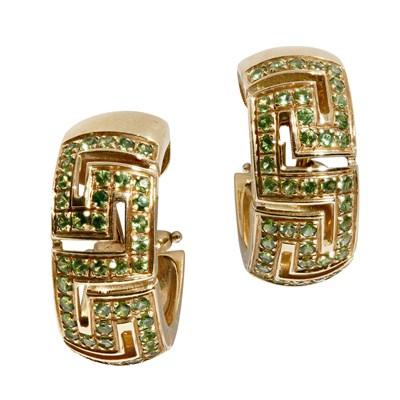 Lot 135 - A pair of Italian demantoid garnet set earrings, Versace