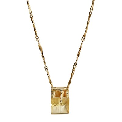 Lot 141 - A contemporary 14ct gold and citrine set pendant, Lapponia