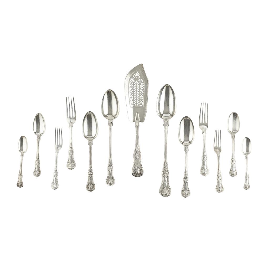 496 - A silver suite of Victorian  flatware