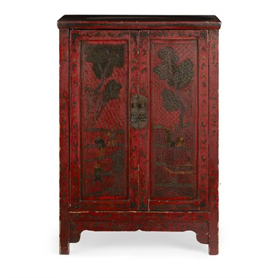 Lot 9 - RED LACQUER TWO-DOOR CABINET