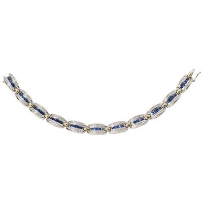 Lot 44 - An 18ct white gold sapphire and diamond set bracelet