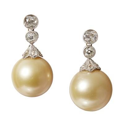 Lot 156 - A pair of South Sea cultured pearl and diamond set earrings