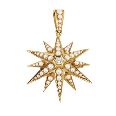 Lot 17-A Victorian pearl and diamond set star brooch