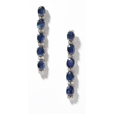 Lot 46 - A pair of diamond and sapphire set pendant earrings