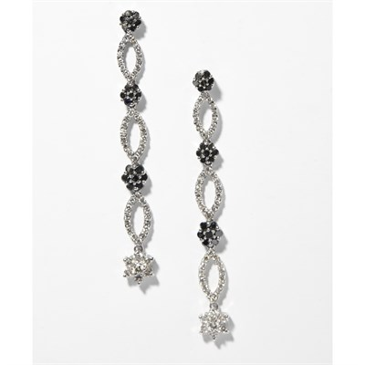 Lot 87 - A pair of colourless and black diamond set earrings
