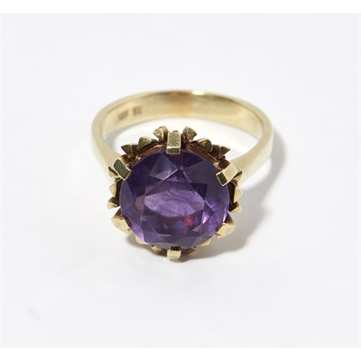 Lot 116 - A 22ct gold amethyst set cocktail ring