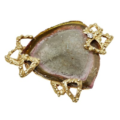 Lot 115 - An 18ct gold tourmaline and diamond set brooch, Andrew Grima