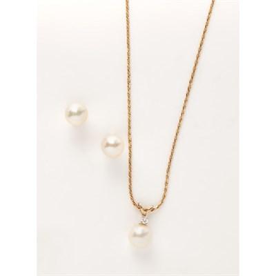 Lot 163 - A pearl and diamond set pendant