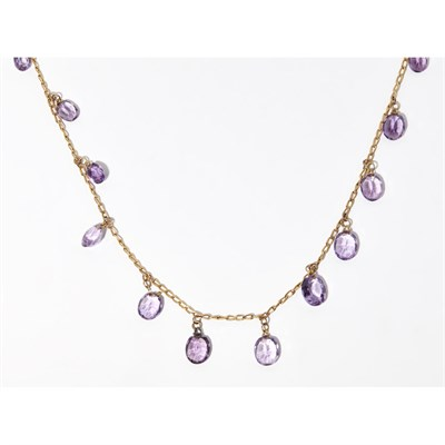 Lot 20 - A 9ct gold amethyst set necklace