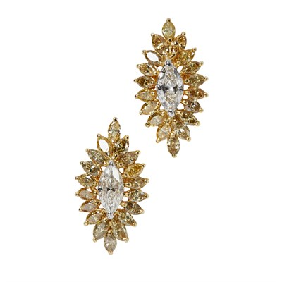 Lot 100 - A pair of colourless and fancy coloured diamond cluster earrings