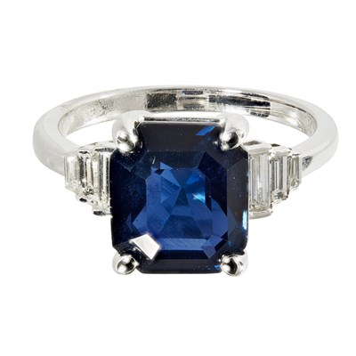 Lot 57 - An Art Deco style sapphire and diamond set ring