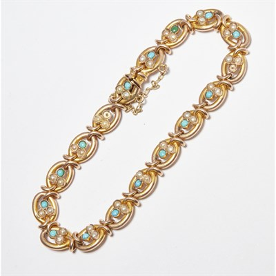 Lot 21 - A turquoise and seed pearl set bracelet