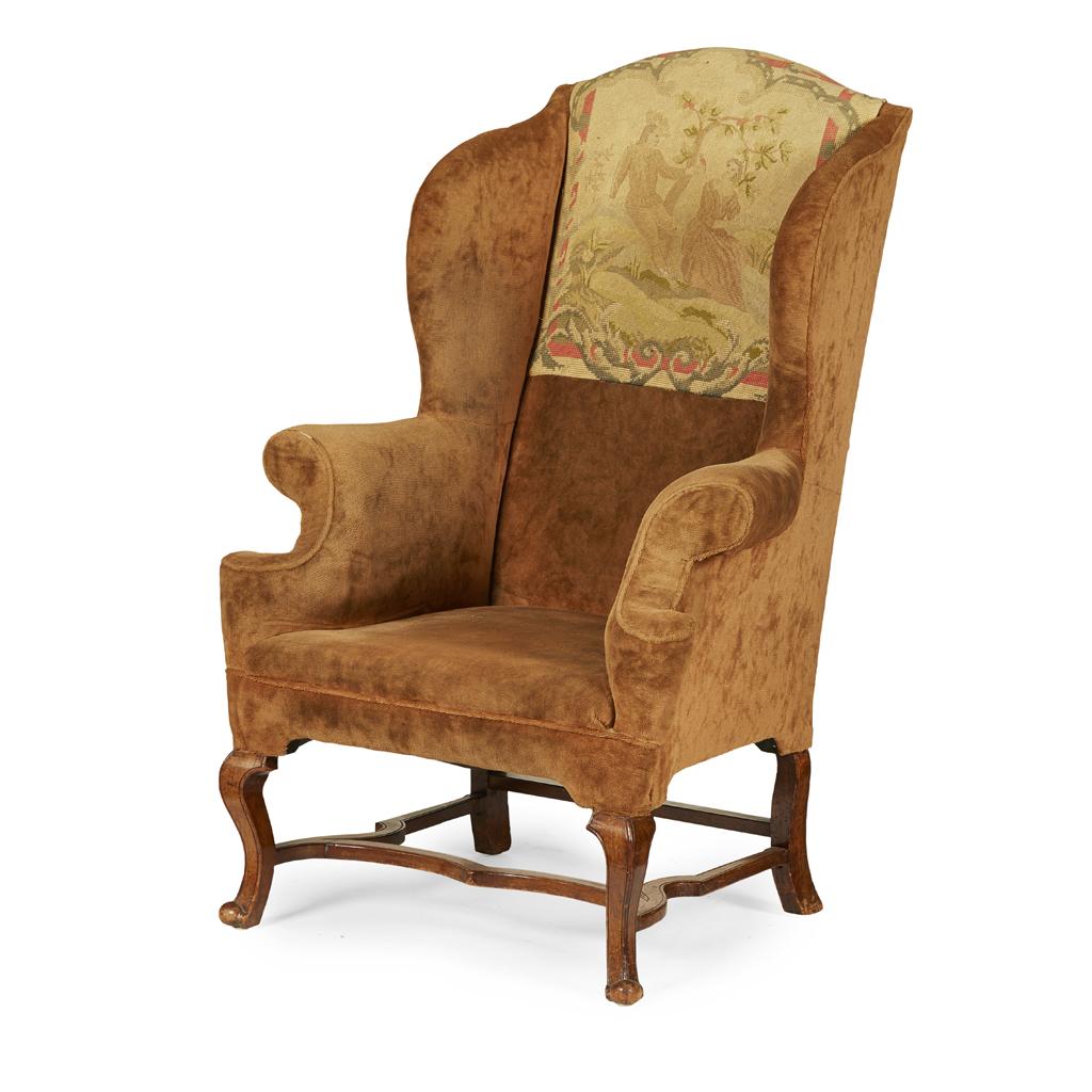 Lot 19 Queen Anne Style Walnut Wingback Armchair