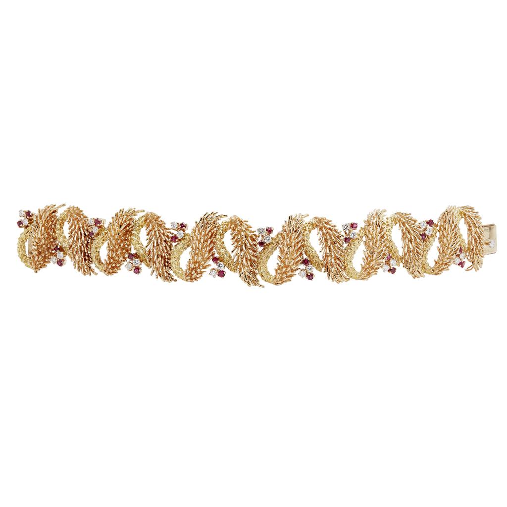Lot 120 - A mid-20th century diamond and ruby set bracelet, Tiffany & Co