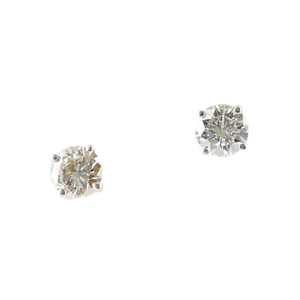 Lot 83 - A pair of 18ct gold diamond set ear studs
