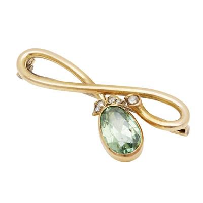 Lot 3 - A Russian green zircon and diamond set brooch