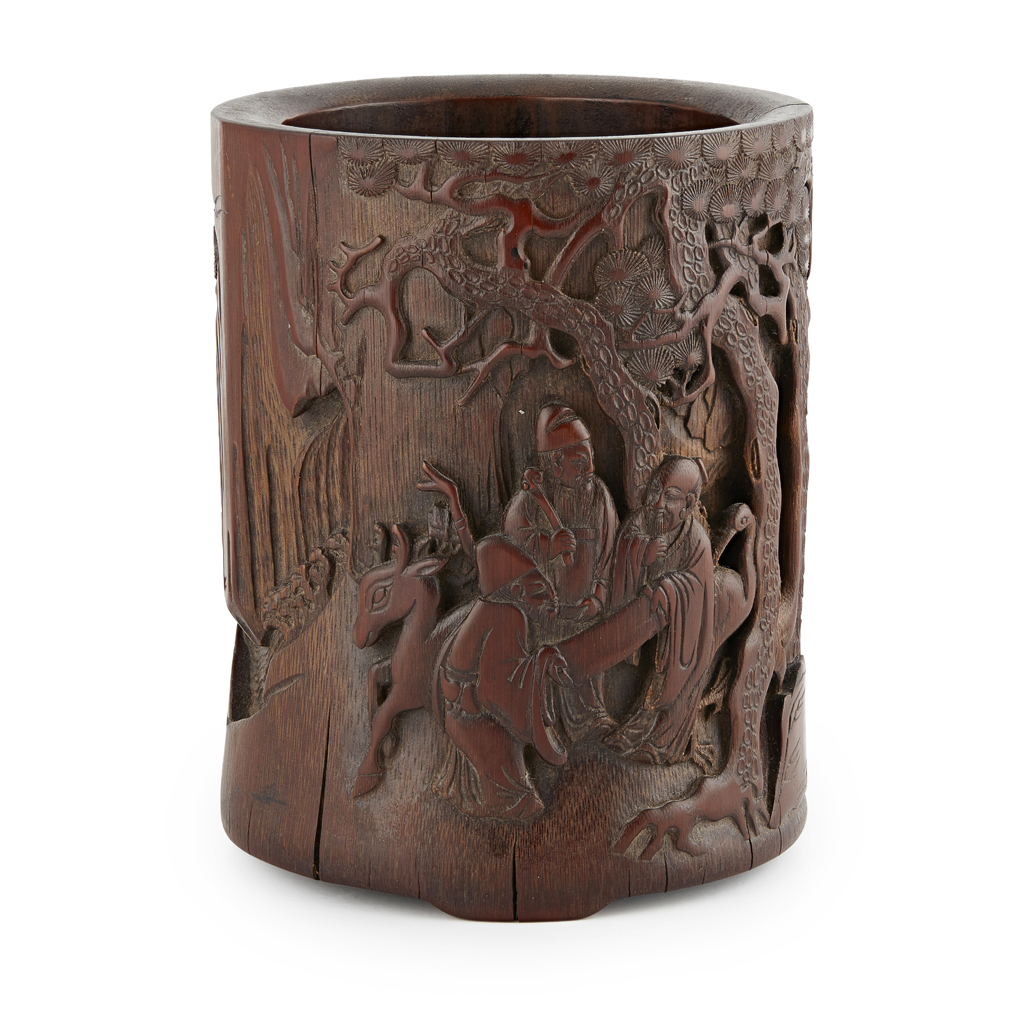 Lot 11-CARVED BAMBOO BRUSH POT