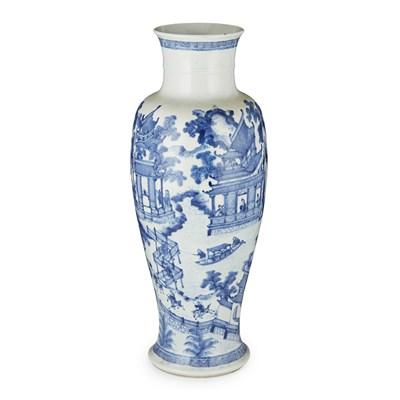 Lot 162 - BLUE AND WHITE BALUSTER VASE, GUAN YIN ZUN